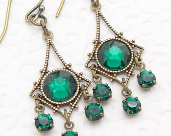 Small Chandelier Earrings with Emerald Green Swarovski Crystal Rhinestones