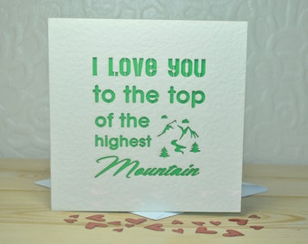 I Love You To The Top Of The Highest Mountain Laser Cut Card