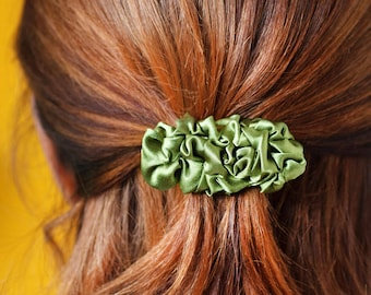 Olive green small fabric french barrette hair clip