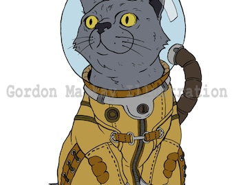 Cat in a Spacesuit Illustration Print