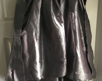 Silver High Low Taffeta Skirt w Adjustable Strap and Side Zipper