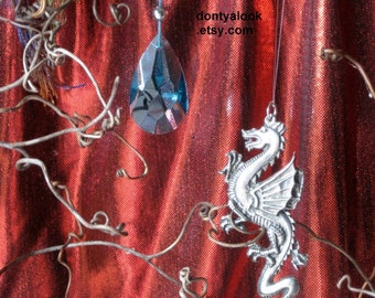 Dragon and Crystal OOAK Dreamcatcher Wall-hanging