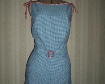 Handmade Vintage Inspired Blue and White Gingham Playsuit