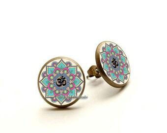 Om earrings, Om jewelry, yoga earrings, yoga jewelry, meditation earrings, Om jewellery, Hypoallergenic Earrings