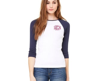 Monogrammed Raglan Shirt. Monogram Raglan Shirt. Womens Monogrammed Raglan Shirt. 3/4 Sleeve Ladies Raglan T-Shirt. Embroidered. SS - B2000