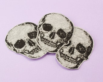 "Skull Patch Iron On Death Patch 2"" DIY Jean Jacket Decor HANDMADE"