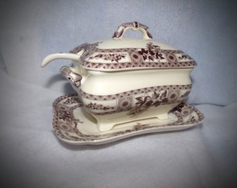 Rare Mt. Vernon New York  Porcelain Gravy Boat  and Dipping Spoon. Brown Rose Design Gravy Boat.  Two's Company Bowl.