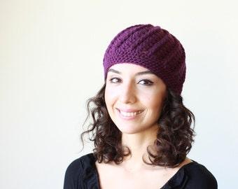 Women purple crochet winter beanie hat