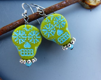 Lime Green Sugar Skull Earrings with Turquoise Detail