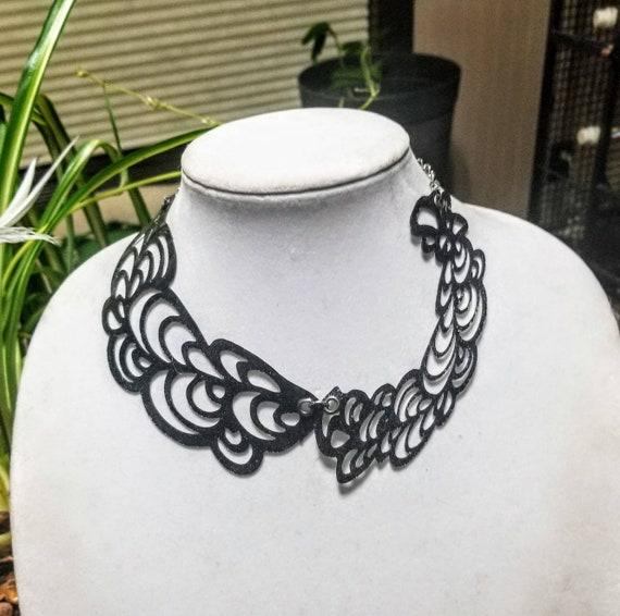 Sparkle Vinyl Collar Necklace- Asymmetrical Swirls