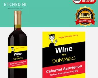 Personalised  Wine Label - Wine for Dummies - Cabernet Sauvignon ***FREE POSTAGE***