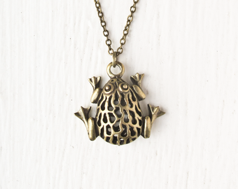 Frog Necklace in Bronze- Large Toad Frog Charm- Vintage Style Jewelry