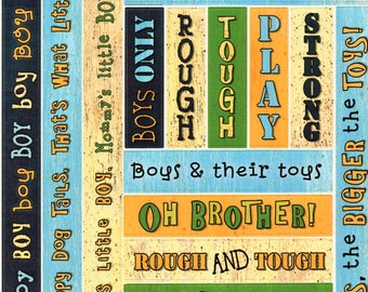 Boy Titles Tags Borders Bo Bunny  Cardstock Scrapbook Stickers Embellishments Card Making