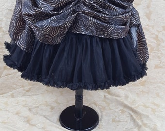Brown Swirl Polka Steampunk Mini Length Tie Bustle Skirt-One Size Fits All