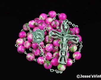Catholic Rosary Beads Rain Flower Natural Stone Silver Traditional Hot Pink Green White