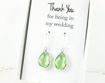 Peridot Silver Teardrop Earrings, Silver Green Earrings, August Birthstone, Bridesmaid Gift, Green Wedding Jewelry, Bridesmaid Earrings