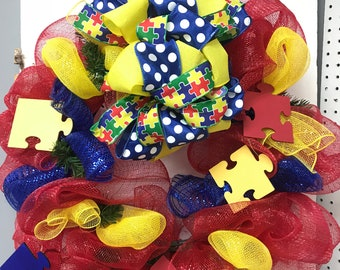 Autism Awareness Wreath, Puzzle Piece Wreath