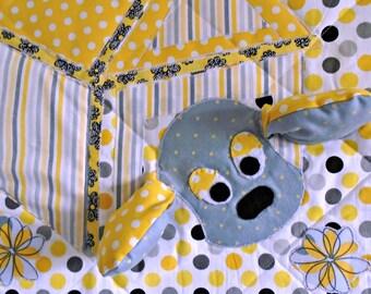 """Quilted Wall Hanging, 3D Art Quilt, Fabric Art, Textile Art, Fibre Arts, Fabric Art Quilt, """"Dottie"""", Linda Voth, Nursery Art, 3D Puppy Quilt"""