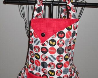 Minnie Mouse Circles and Stripes - Women's Apron - Ruffle - Pocket - Disney