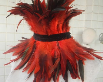 Gothic coque feather choker #FC635A