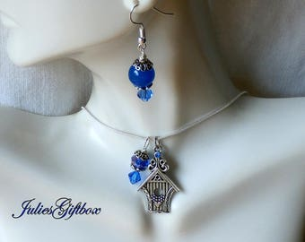 """Bird House Necklace Blue Jade & Crystal Earring Set-19"""" + 2"""" Ext. SP Snake Chain-Ready to Ship Free US Domestic"""