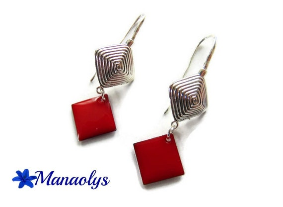 Leverback Earrings colourful stripes and Red enamel diamond 3066