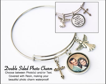 Photo Jewelry /  Photo Bracelet / Personalized Photo Bracelet / Photo Gifts / Photo Charm Bracelet / Double Sided / Memorial Gift / Loss