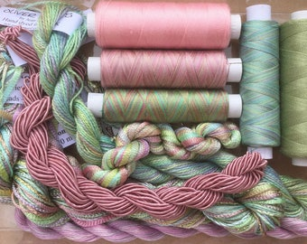Thread Collections,Silk, Cotton, Viscose, Hand Dyed Embroidery Threads, Hand Dyed Machine Threads, Hand Dyed Quilting Threads, Pistachio