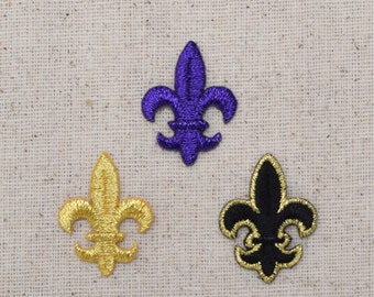 Fleur de lis - SMALL -  Color Choice: Gold, Purple, Black/Gold - Iron on Applique - Embroidered Patch