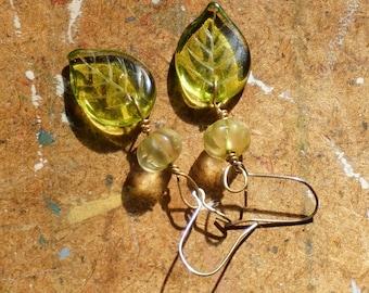 Budding leaf earrings