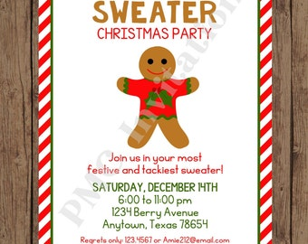 Custom PRINTED Ugly Sweater Christmas Holiday Invitation -  1.00 each with envelope