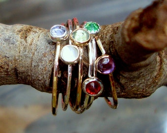 3 Ring stack delicate build your own w birthstones - sterling silver/14k GF -Custom made in your Size