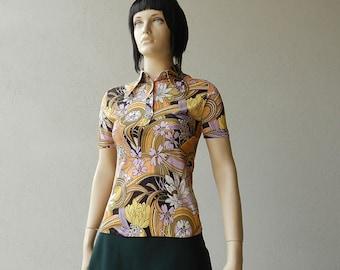 70s Dog Ear Collar Polo Shirt Beagle Collar Lotus Flower Japan Floral Print Short Sleeve Top Size XS S