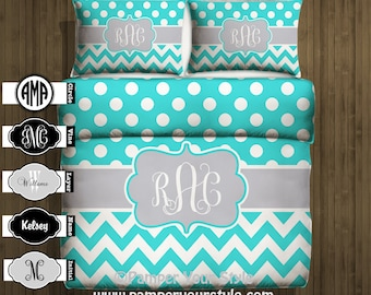 Polka dot and Chevron Duvet with Matching Sham(s) -  Aqua and Gray Monogrammed Bedding - Personalize with Name or Monogram - Create your Bed