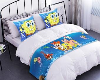 Decorative Velvet Fabric Table Runner SpongeBob SquarePants Handmade Table Cloth