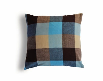 Blue and Brown Wool Plaid Pillow