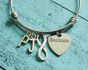 soulmate gift, girlfriend gift for her, anniversary gift, wife gift, gift for bride, soulmate bracelet, soulmate jewelry, romantic gift