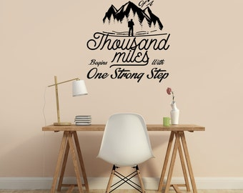 """The Journey of A Thousand Miles - Inspirational Wall Decal 22""""X25"""""""