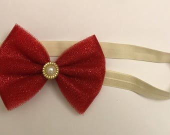 Sparkly Red and Ivory Headband