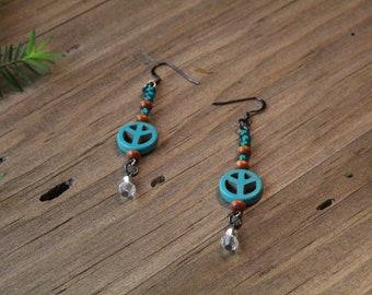 Turquoise Peace Earrings, Dangle Earrings, Peace Sign Earrings, Earrings, Jewelry, Gifts for Her,
