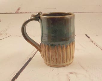 Ceramic  Mug - Cup - Stoneware Coffee Cup - Beer Stein - Handmade Pottery - Mom Dad Gift - Ready to Ship - Shino and Moss Blue Green m294