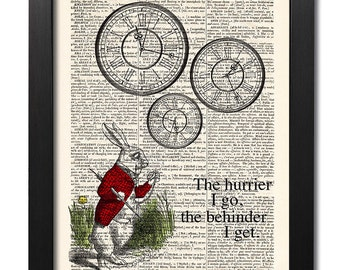 Alice in Wonderland, white rabbit, Quote print, Antique book page, Dictionary art print, Room decor, Home Wall Decor, Gift poster [ART 019]