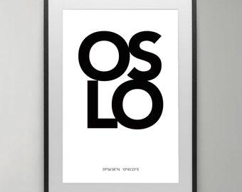 Oslo City Print, Oslo, Norway city print, Black and White, Scandinavian, Scandinavian wall art, Wall Decor, Instant Download, Home decor.