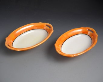 Meito Handpainted Lusterware Set of Two Japanese Lusterware Pickle Wasabi Dishes