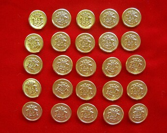 25 Gold Tone Metal Shank Buttons with Heraldry Crest Shield for Renaisance Costume