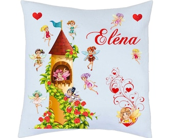 Pillow pattern satin cute fairies personalized name choice ref 80