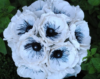 Paper Anemone Wedding Bouquet - White Paper Anemone Blooms - Anemone Wedding Bouquet - Anemone Flowers -  -  Custom Colors Available
