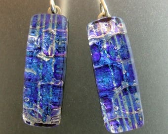 Denim Blues Dichroic Dangles, Handmade Fused Glass Jewelry from North Carolina