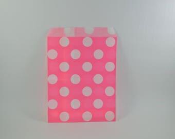 8 pink polka dot pattern paper bags