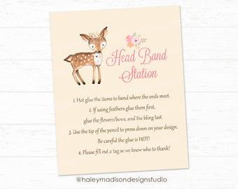 Headband Station Sign, Woodland Baby Shower, Floral Woodland Baby Shower sign, Baby Shower activity, Printable 8x10 sign HM112